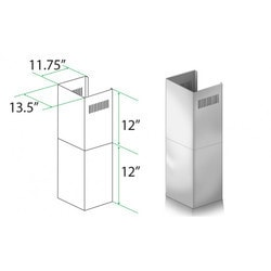 "Zline Kitchen And Bath 2 Pc 12"" Short Chimney Pieces For 7' 8' Ceilings For 9667/9697"""