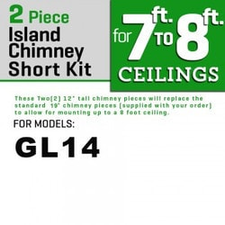 "Zline Kitchen And Bath 2 Pc 12"" Short Chimney Pieces For 7' 8' Ceilings For Gl14i"
