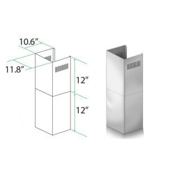 "Zline Kitchen And Bath 2 Pc 12"" Short Chimney Pieces For 7' 8' Ceilings For Ke/kecom 30"""