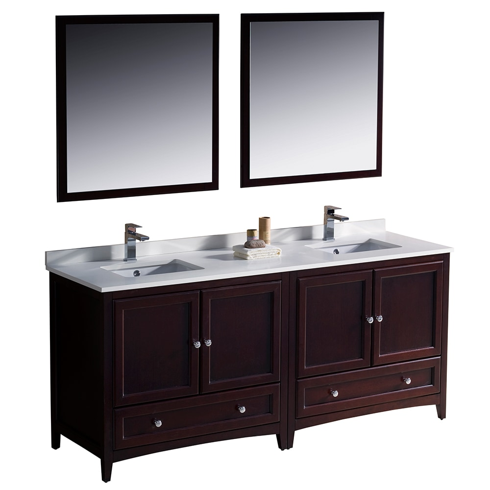 Fresca Oxford 72 Inch Traditional Double Sink Bathroom Vanity White