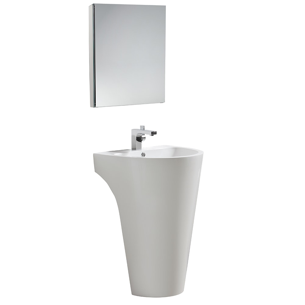 Fresca Parma Pedestal Sink With Medicine Cabinet Modern Bathroom