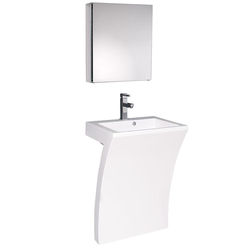 Fresca Quadro Pedestal Sink With Medicine Cabinet Modern Bathroom Vanity White White