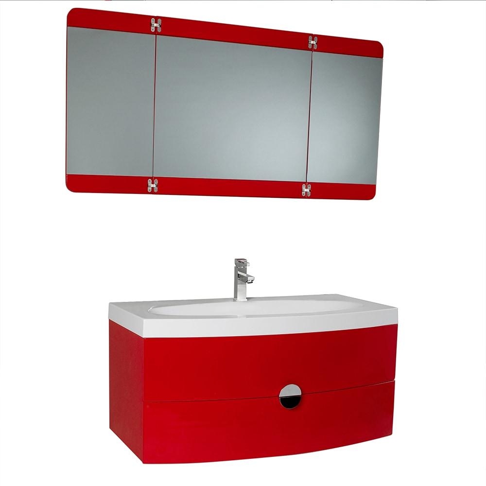 Fresca Energia Modern Bathroom Vanity With Three Panel Folding Mirror White