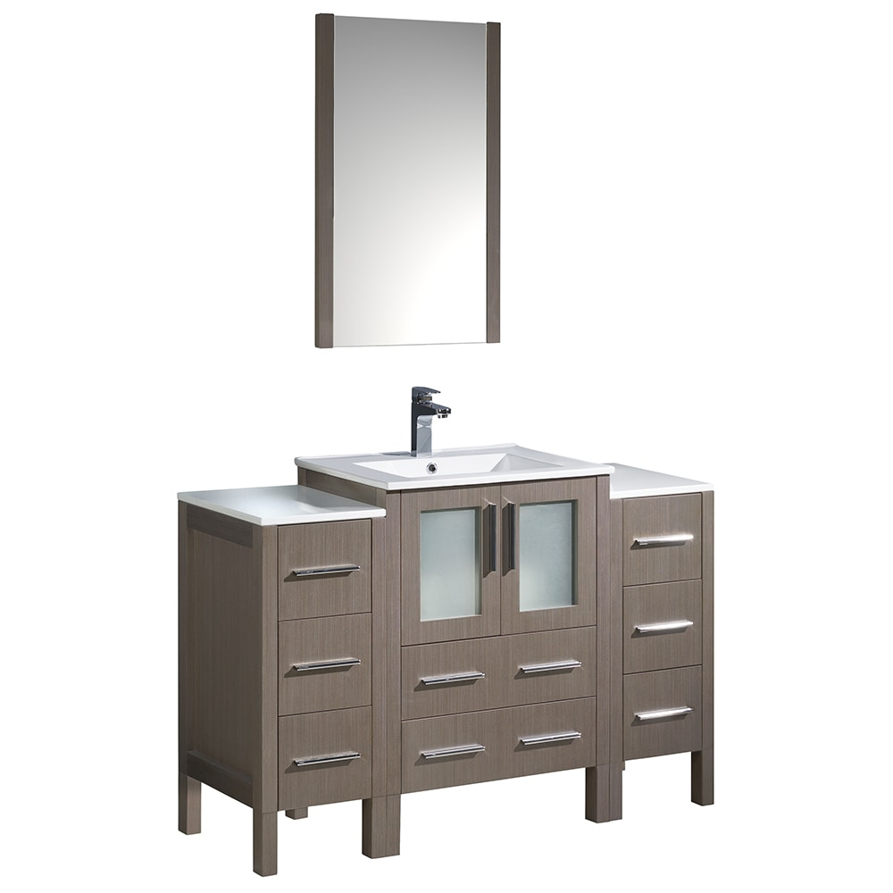 Fresca Torino 48 Modern Bathroom Vanity With 2 Side Cabinets Integrated Sink White Gray Oak