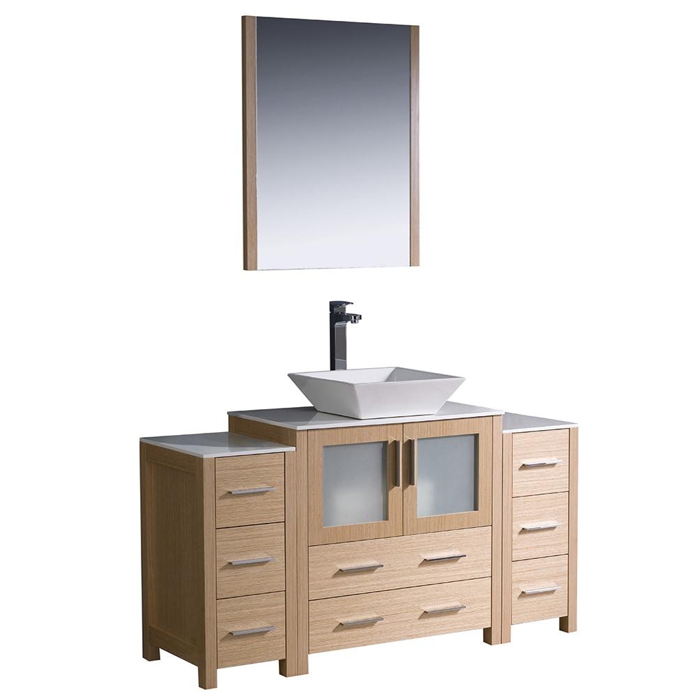 Fresca torino 54 modern bathroom vanity with 2 side cabinets vessel sink white light oak - Light oak bathroom vanity units ...