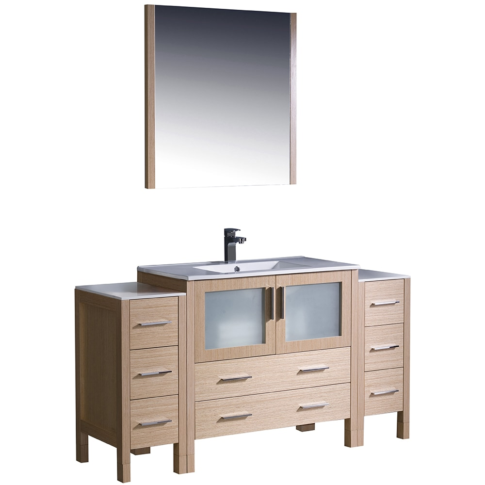 side cabinet bathroom fresca torino 60 quot modern bathroom vanity with 2 side 26115