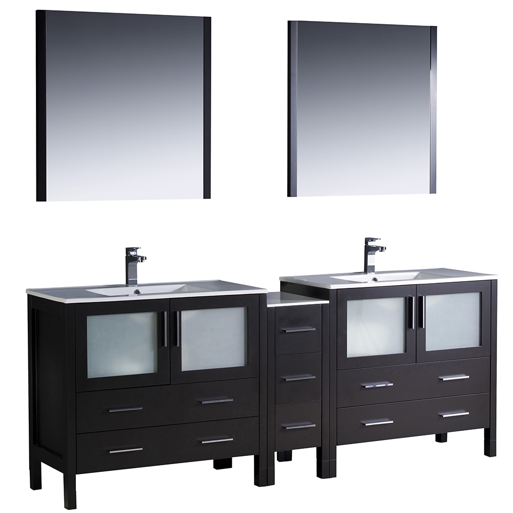 Fresca Torino 84 Modern Double Sink Bathroom Vanity With Side Cabinet Integrated Sinks White