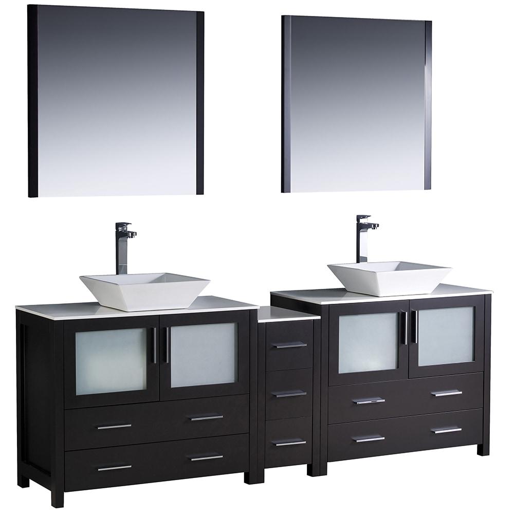 Fresca Torino 84 Modern Double Sink Bathroom Vanity With Side Cabinet Vessel Sinks White