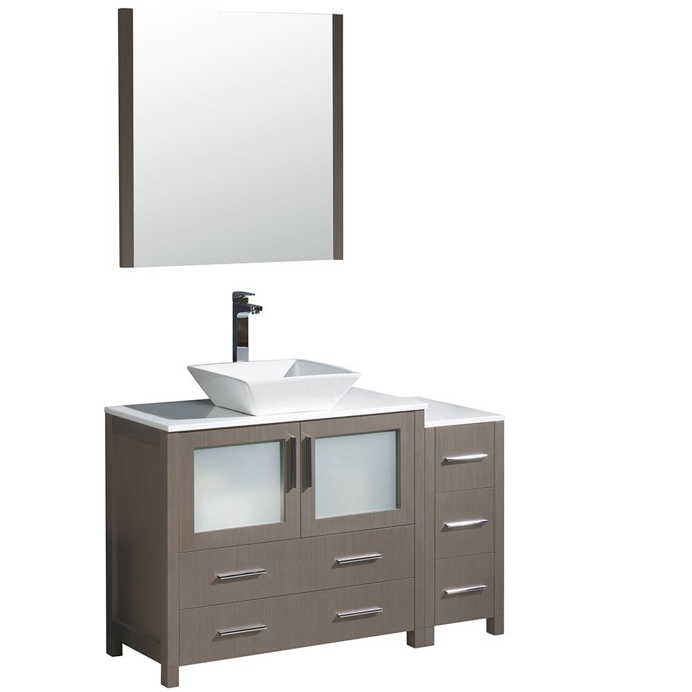 Fresca Torino 48 Modern Bathroom Vanity With Side Cabinet Vessel Sink White Gray Oak