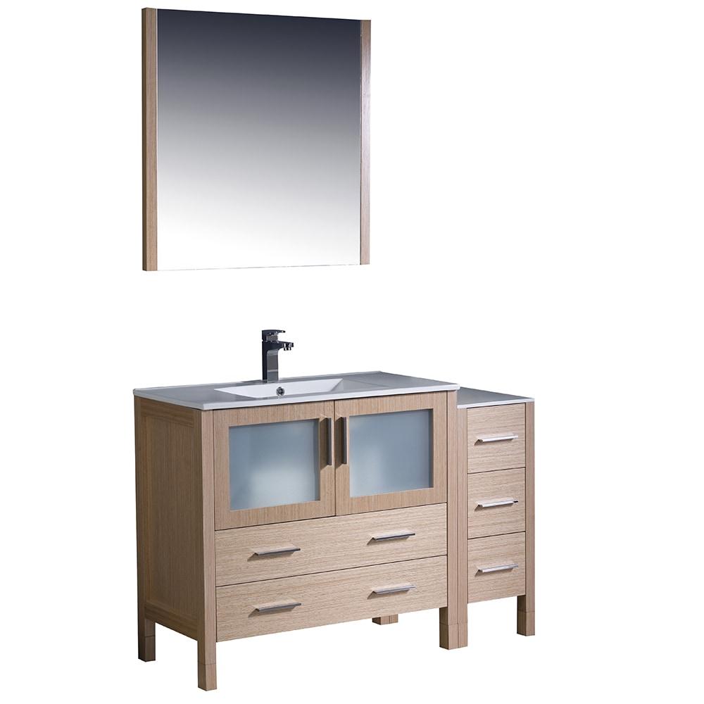 Fresca Torino 48 Modern Bathroom Vanity With Side Cabinet Integrated Sink White Light Oak