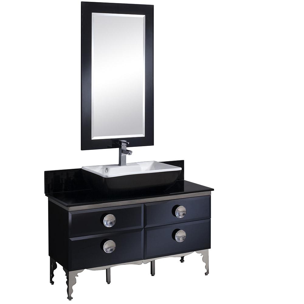 Black High Bathroom Cabinet Mirror