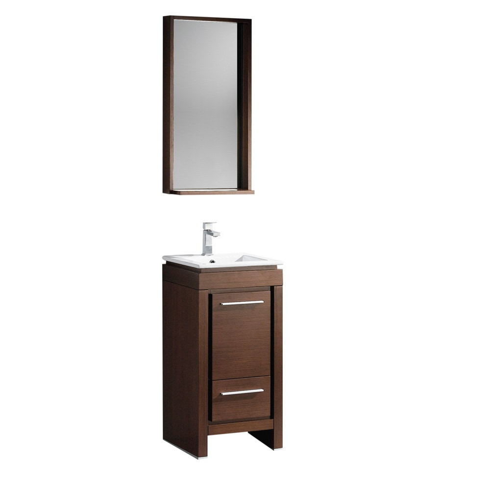 Fresca allier 16 modern bathroom vanity with mirror white for Wenge bathroom mirror
