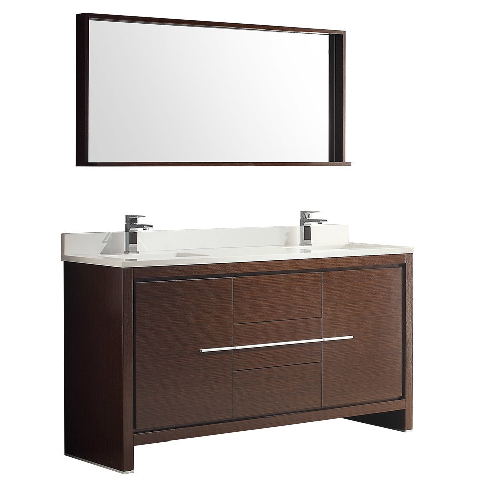 Fresca Torino 60 Modern Double Sink Bathroom Vanity With Side Cabinet Vessel Sinks White
