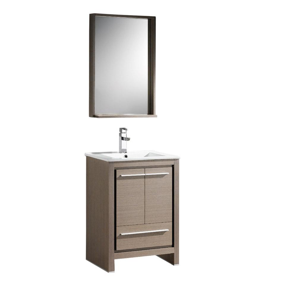 Fresca Allier 24 Modern Bathroom Vanity With Mirror White Gray Oak
