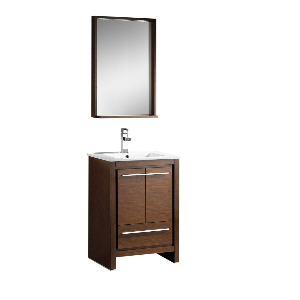 Fresca allier 24 modern bathroom vanity with mirror white for Wenge bathroom mirror
