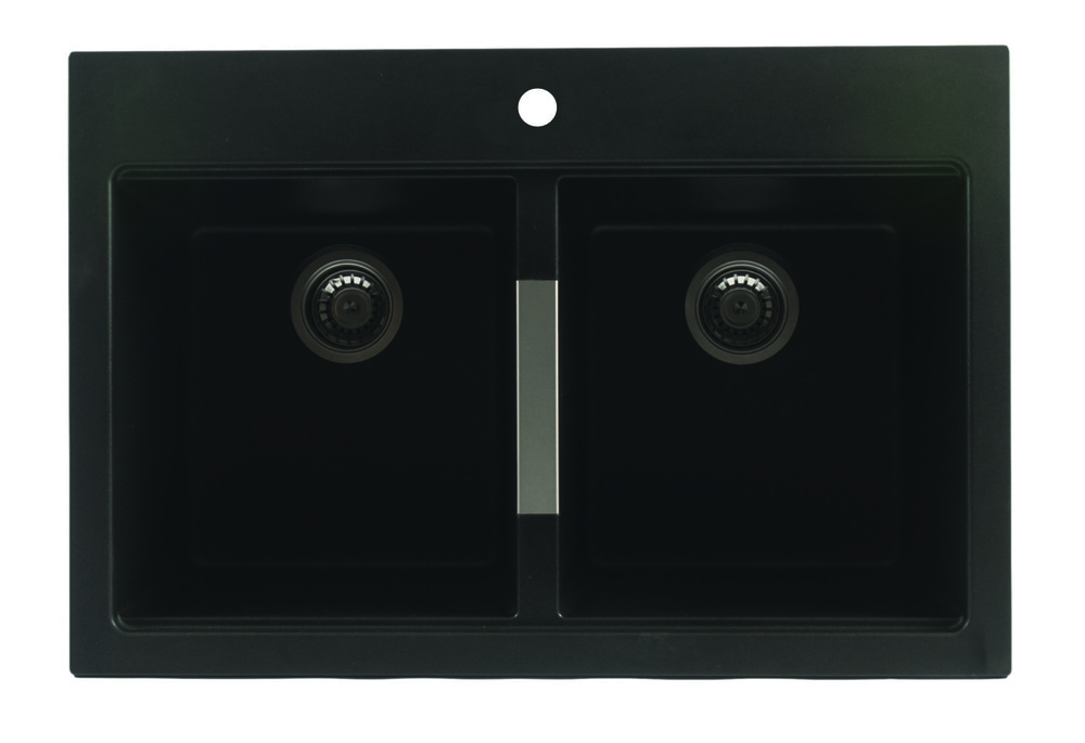 Artika Black Kitchen Double Granite Sink 50/50 Kitchen sink ...