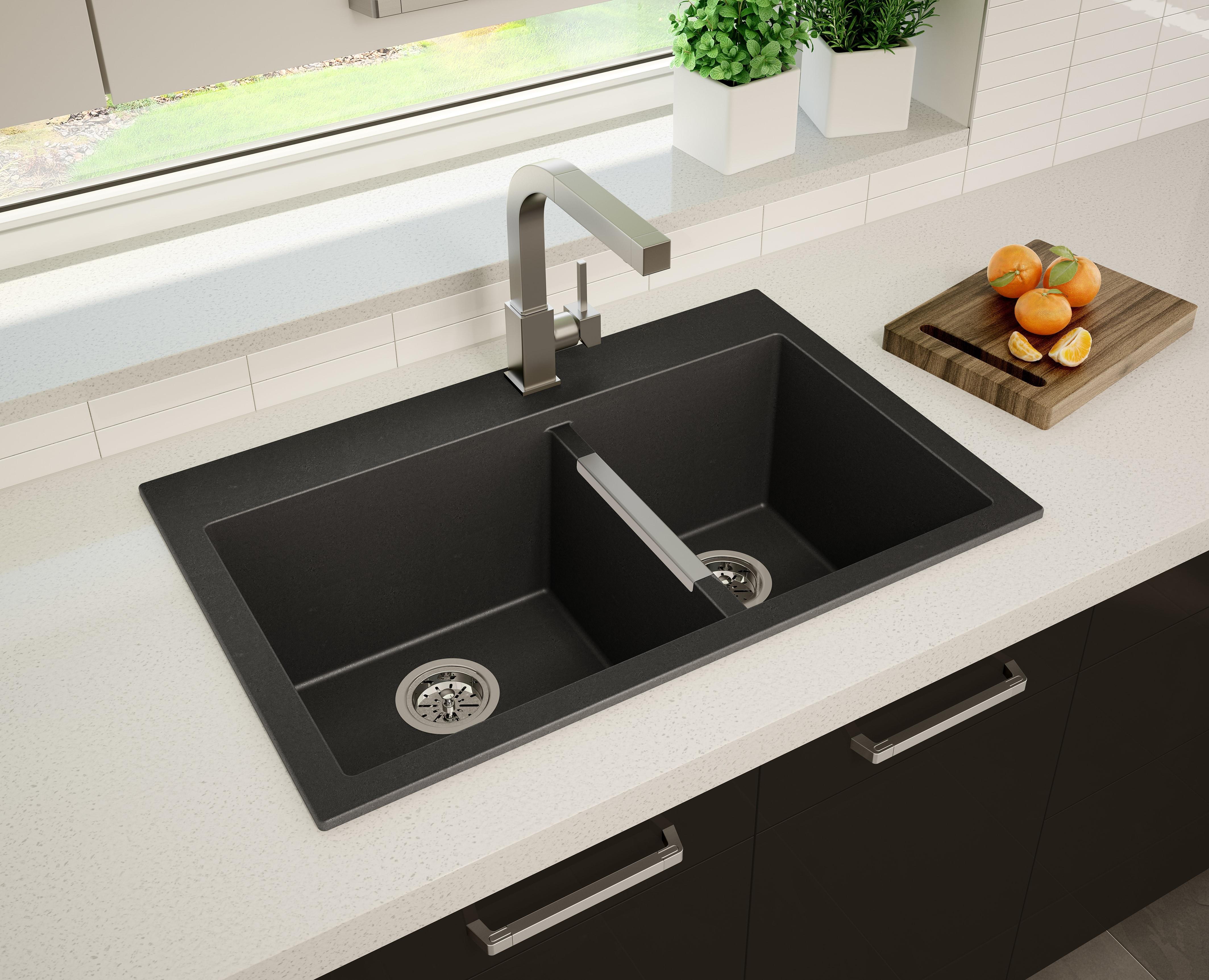 S wheatland 60 40 kitchen sink black granite undermount - Best caulk for undermount kitchen sink ...