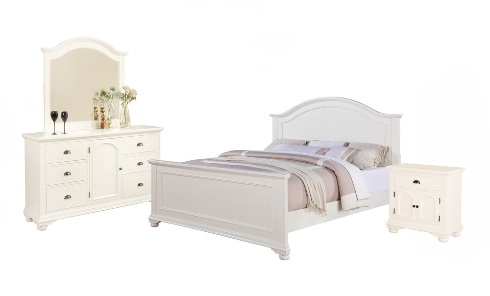 Picket House Furnishings Addison Bedroom Collection King Size Bedroom Set 4 Pc White
