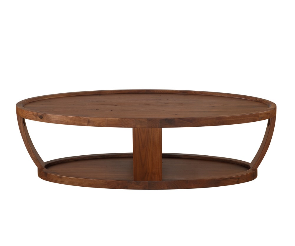 Moe 39 S Home Collection Dylan Oval Coffee Table Rustic Walnut 1 Natural