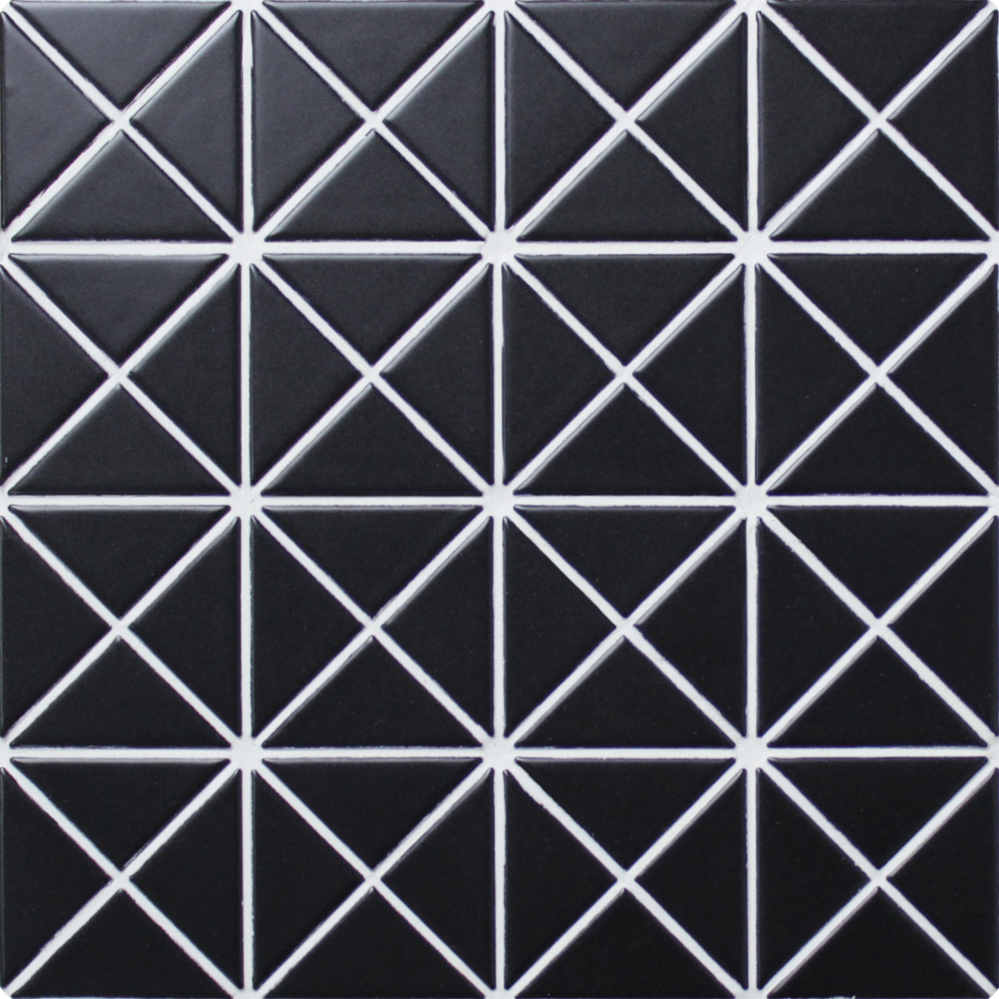 "Triangular Pure Black / 2-1/3""x1-2/3"" / Matte Triangle Porcelain Mosaic Tile 0"