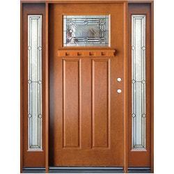 Exterior Doors / Pre Finish Fiberglass Entry Unit / Medium Walnut   Left H  .. Part 81