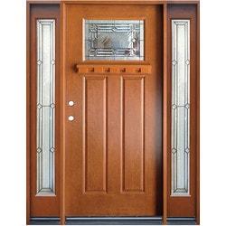 Epoch Fiberglass Doors Exterior Doors / Pre Finish Fiberglass Entry Unit /  Medium Walnut