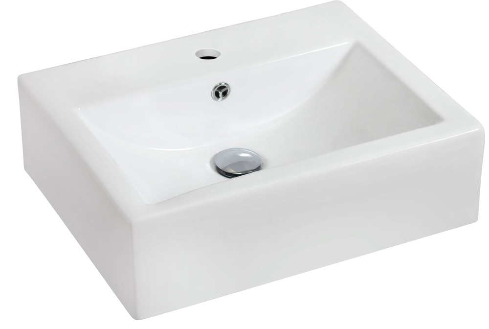 American imaginations rectangular wall mount ceramic for Are vessel sinks out of style
