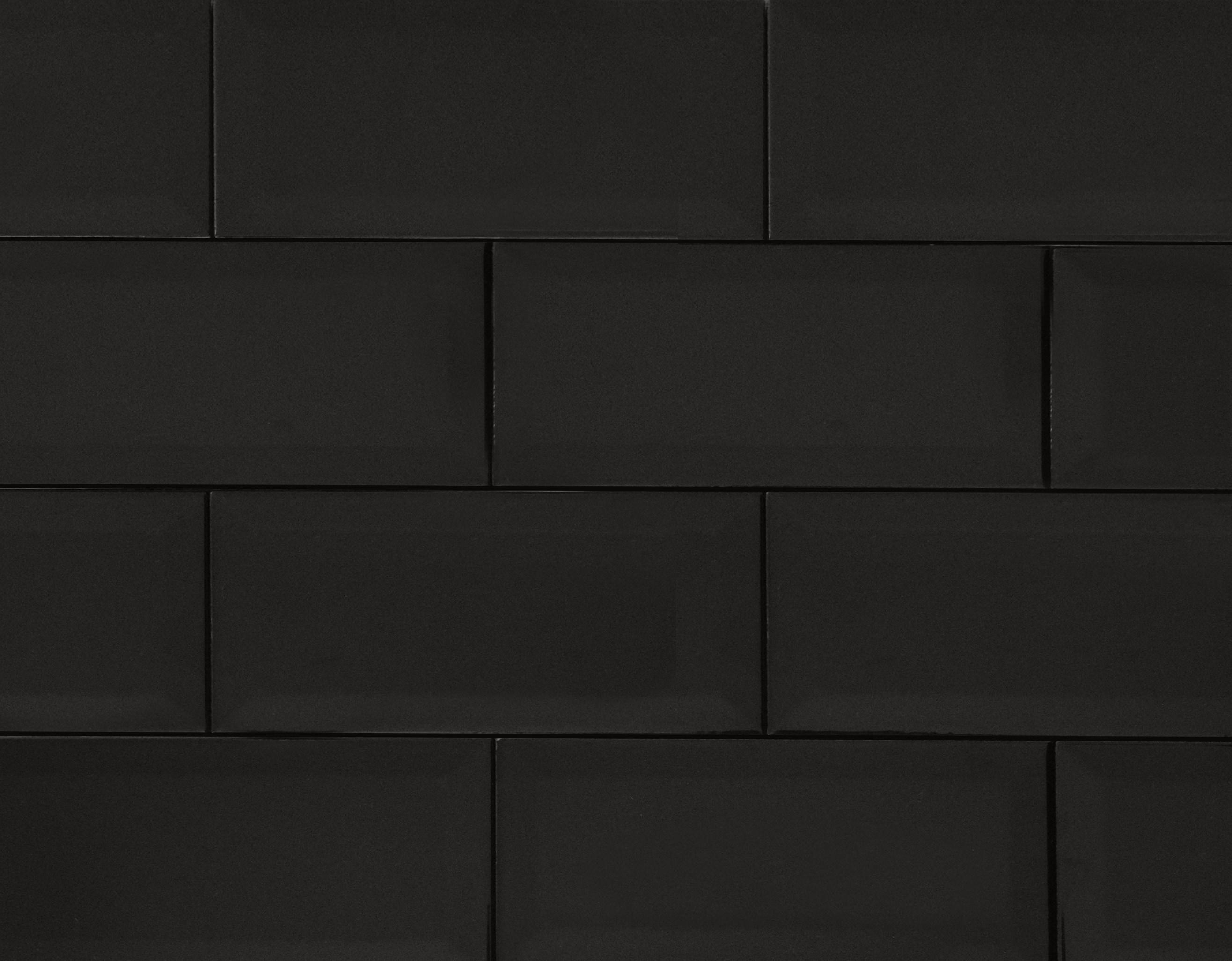 """4"""" x 8"""" / Glazed / Black Subway Tile / Metro Tile - Beveled 0"""