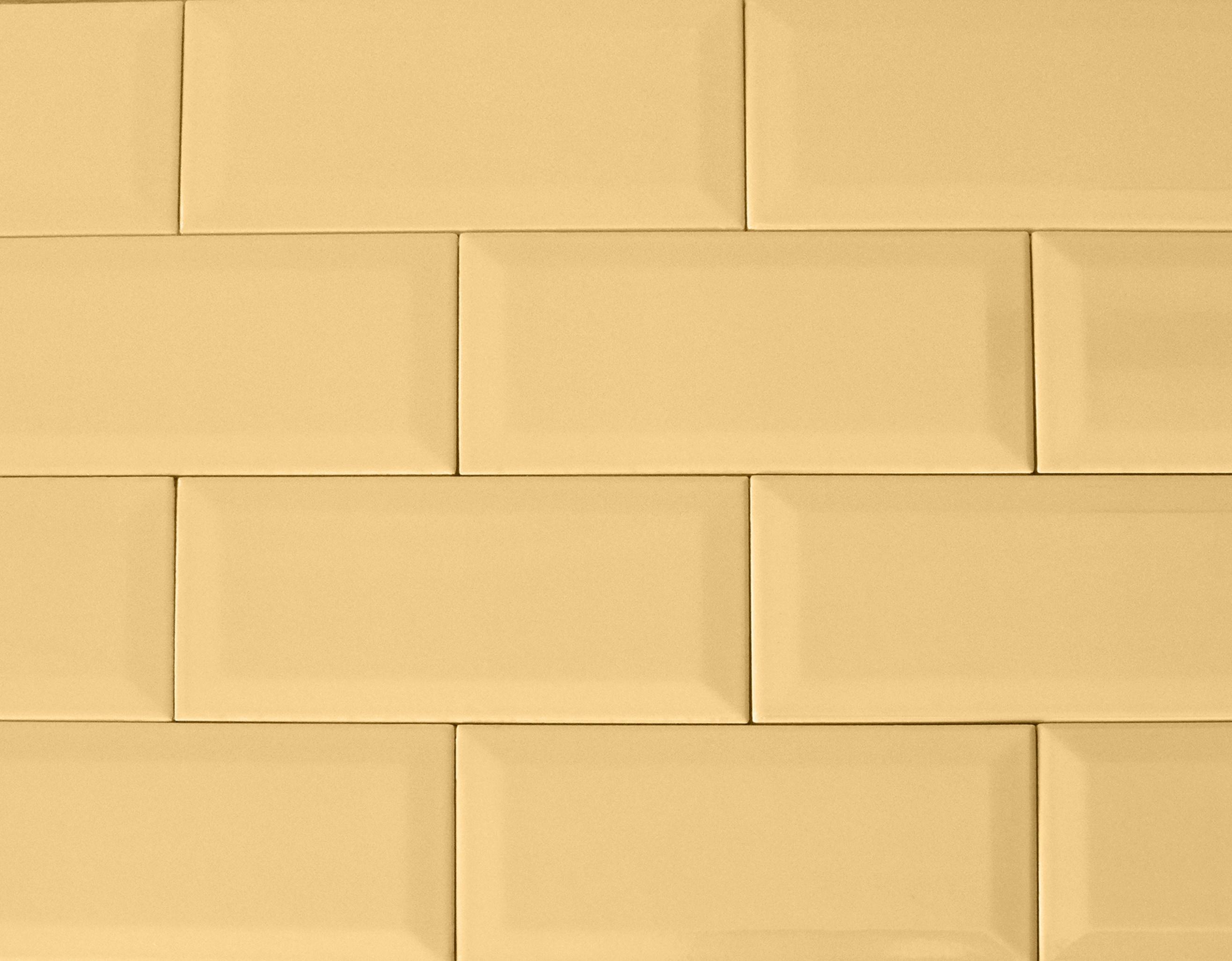 """4"""" x 8"""" / Glazed / Moustard Subway Tile / Metro Tile - Beveled 0"""