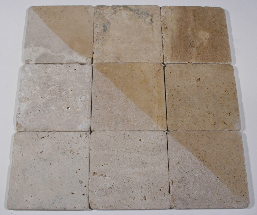 "Carved Stone Creations, Inc. Travertine Floor Tile Light Oriental / 4"" X 4"" X 3/8"" / Tumbled"