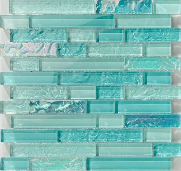 "GLASS MOSAIC / 12"" X 12"" / GLOSSY IRIDESCENT EFFECT BAHAMA INAGUA LINEAR - GLASS TILE POOL TILE 0"