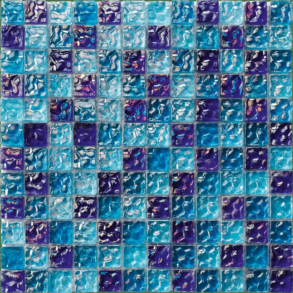 RIVER WAVY BLUE BLEND 1 X 1 - Glass tile Pool Tile RIVER WAVY BLUE BLEND 1 X 1 - Glass tile Pool Tile 0