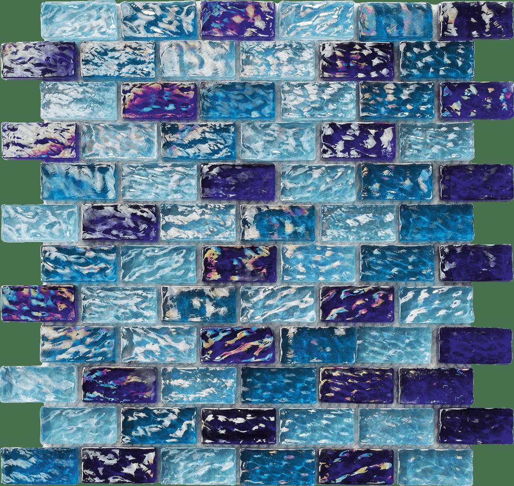 RIVER WAVY BLUE BLEND 1 X 2 - Glass tile Pool Tile RIVER WAVY BLUE BLEND 1 X 2 - Glass tile Pool Tile 0