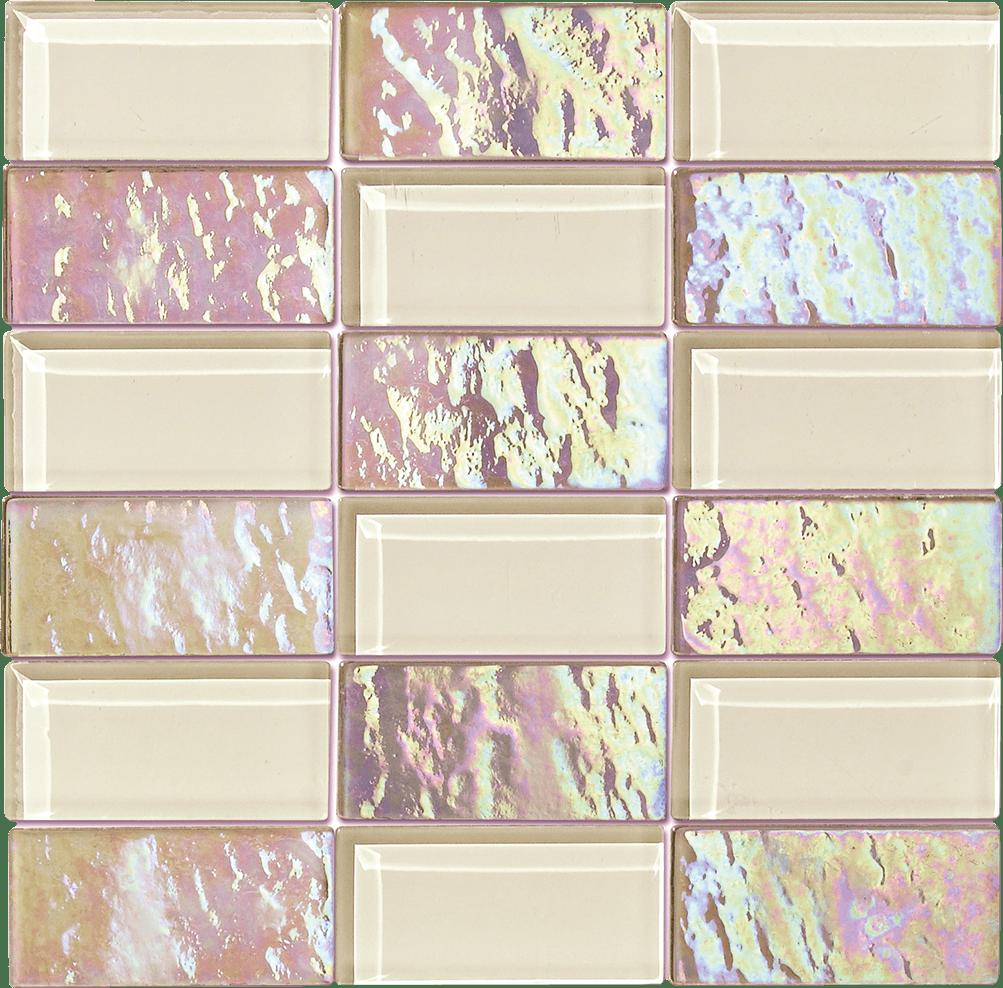 "Glass Mosaic / 12"" x12"" / Iridescent mixed with solid color Beige Quartz Precious Glass 4x2 0"
