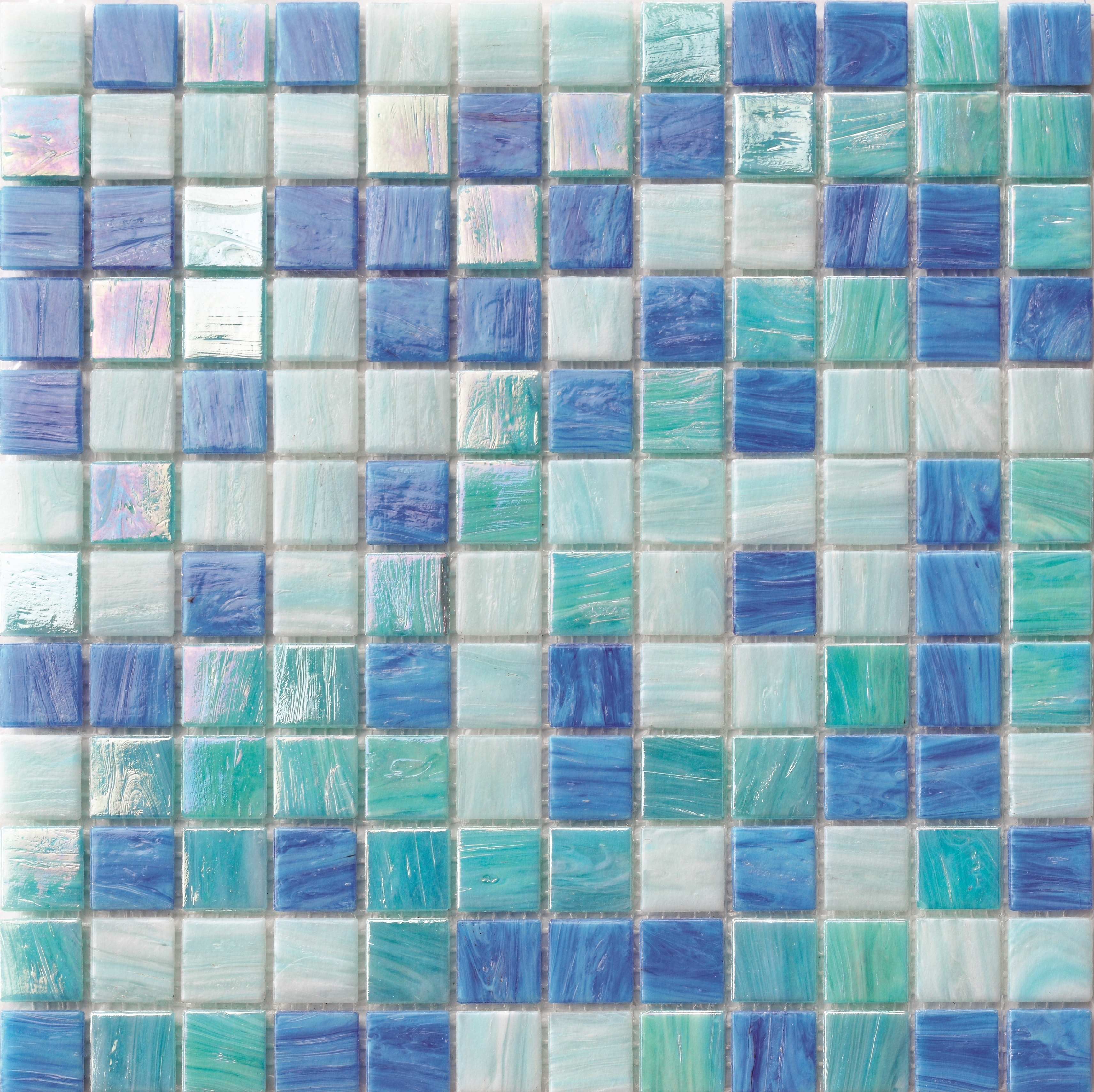 1X1 CASCADE BLUE BLEND 1x1 - POOL TILE 0