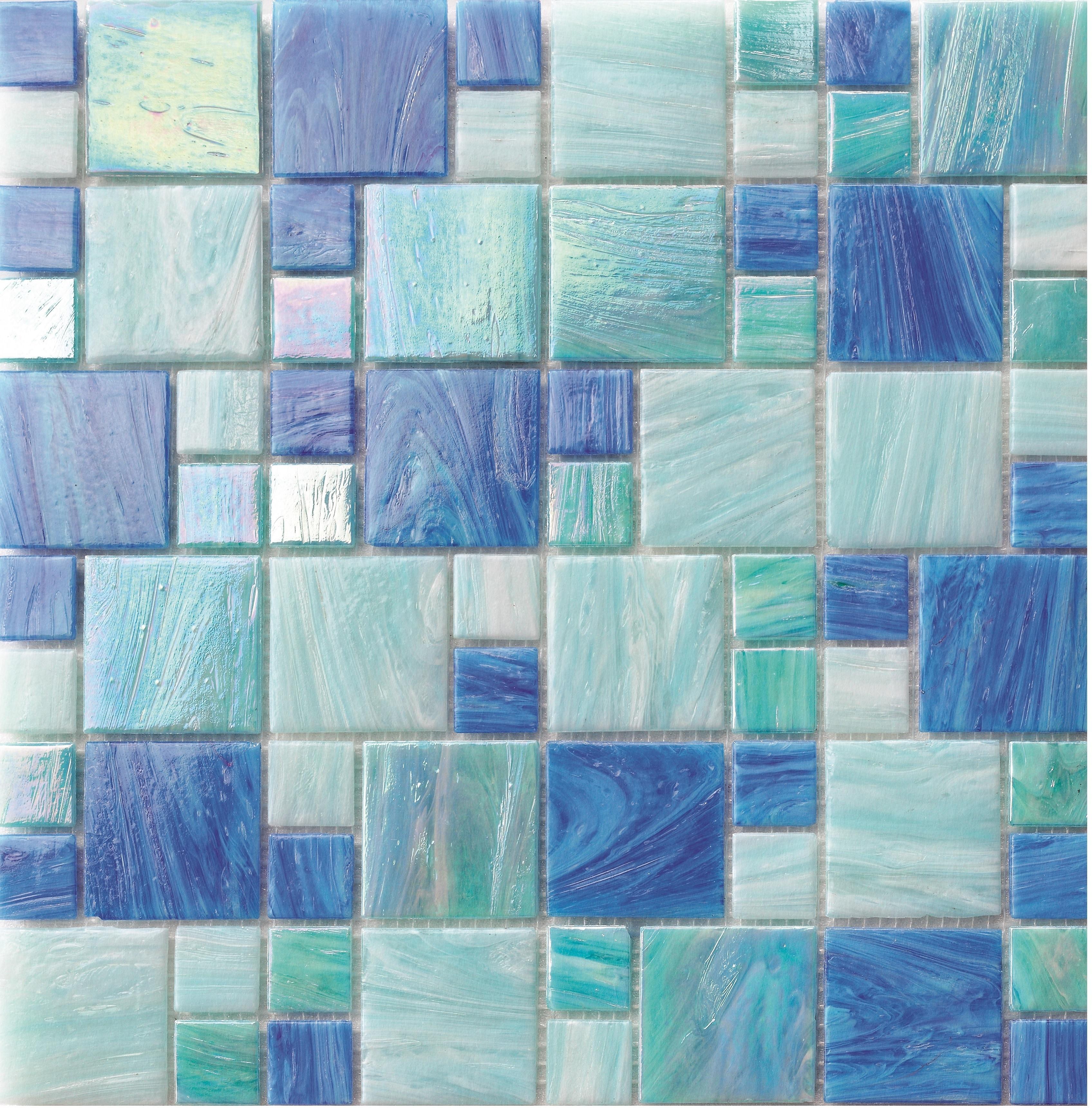 MIXED PATTERN CASCADE BLUE BLEND MIXED - POOL TILE 0