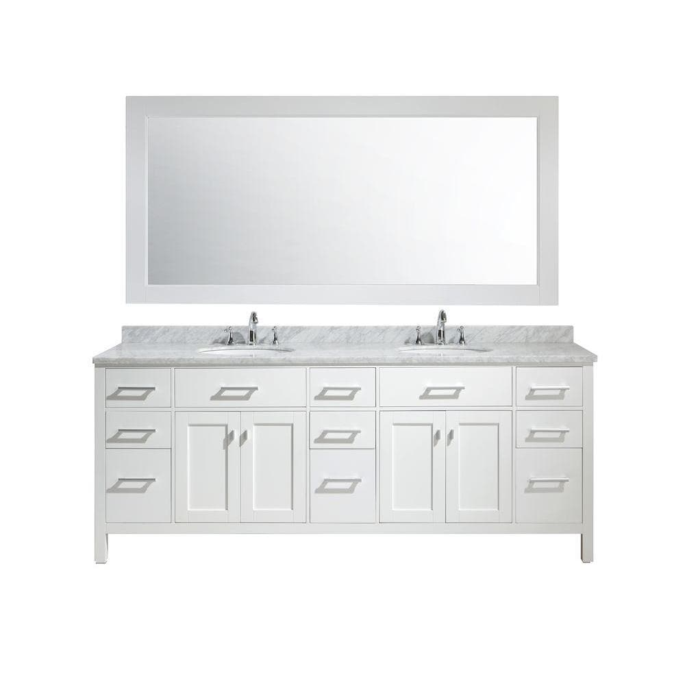 Design Element London 84 Double Sink Vanity Set Carrara Marble Top With Oval Double Under