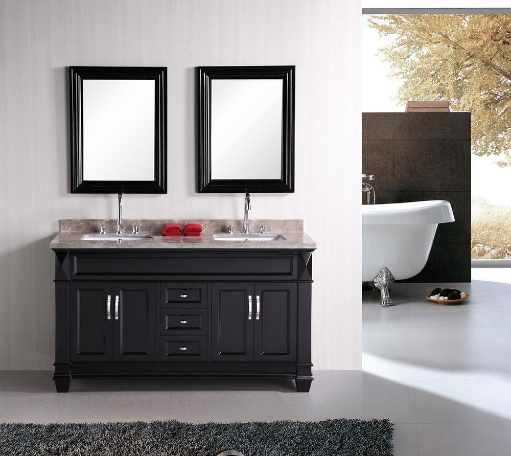 60 in double sink vanity. Dec059c 582f9d1aa7537  Design Element Hudson 60 Double Sink Vanity Set Crema Marfil Marble