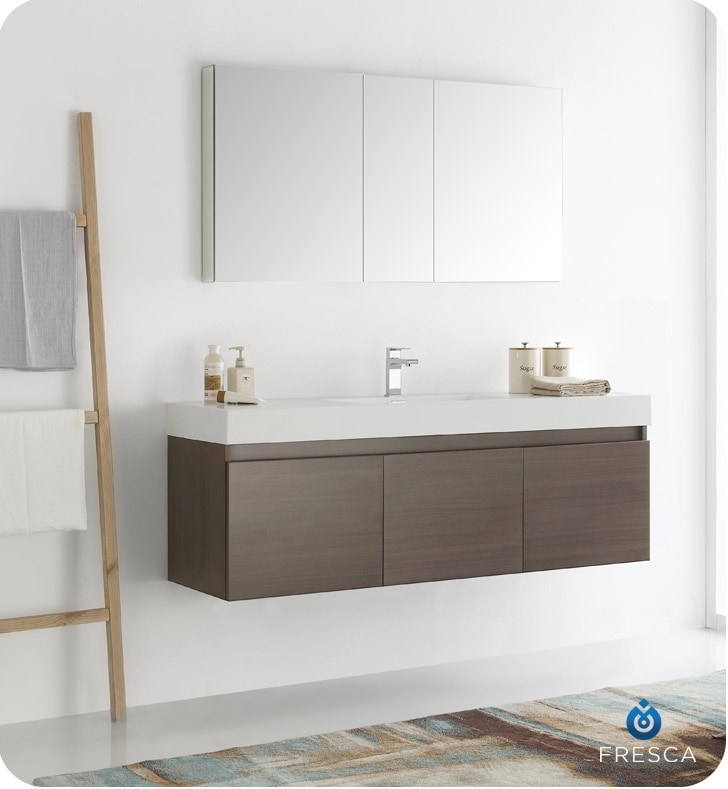 "Fresca Mezzo 60"" Wall Hung Single Sink Modern Bathroom Vanity With Medicine Cabinet / White"
