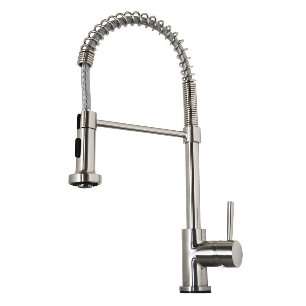 Virtu USA Triton Brushed Nickel Single Handle Faucet Spring Sprout ...