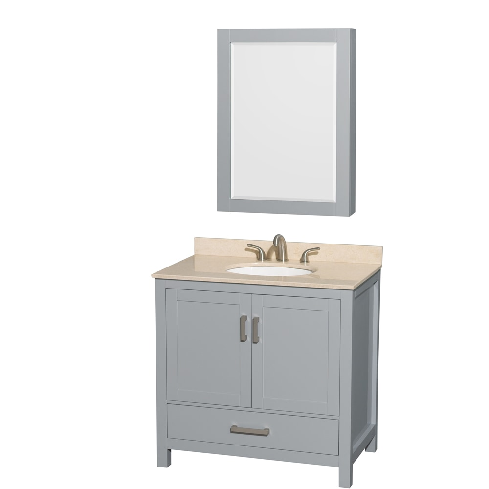 "Wyndham Collection Sheffield 36"" Single Bathroom Vanity Set With Medicine Cabinet / Oval Sink"