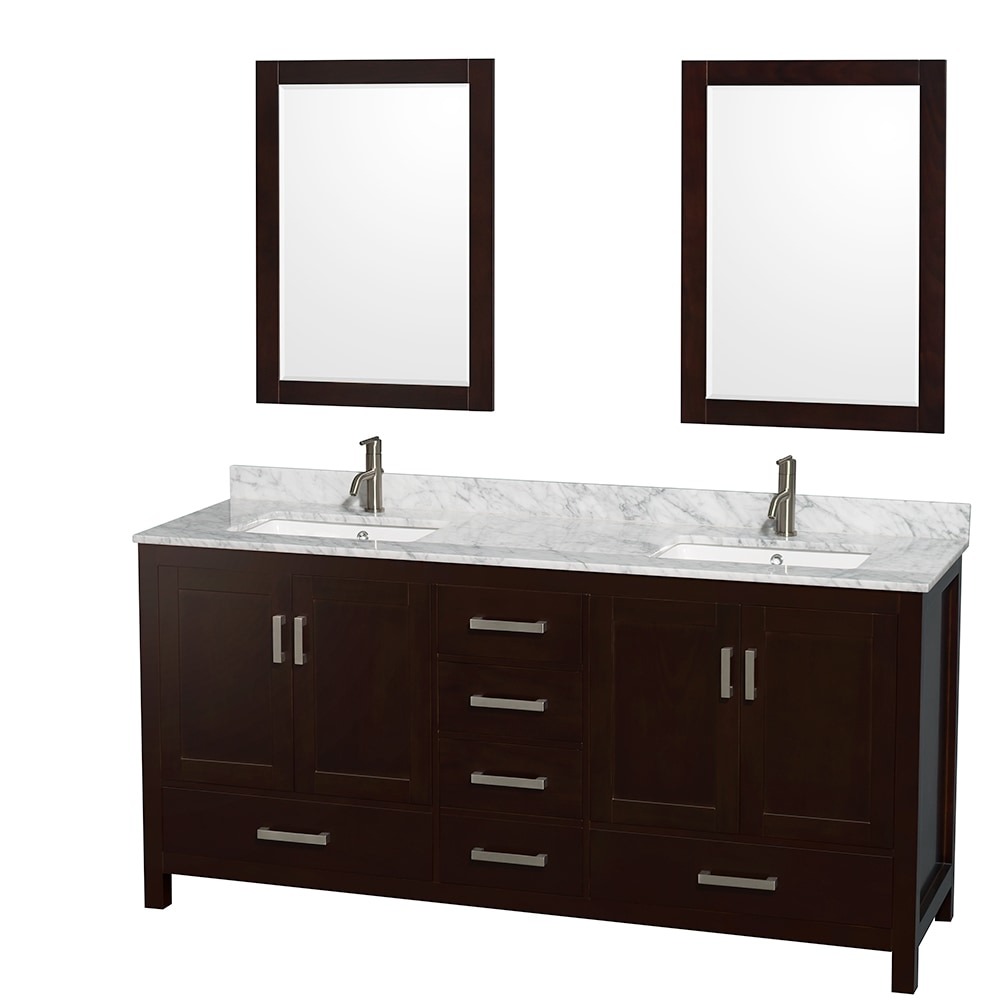 Wyndham collection sheffield 72 double bathroom vanity set with 24 mirrors square sinks for Sheffield 72 double bathroom vanity