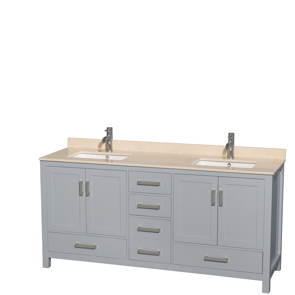 Wyndham collection sheffield 72 double bathroom vanity set mirror not included square sinks for Sheffield 72 double bathroom vanity