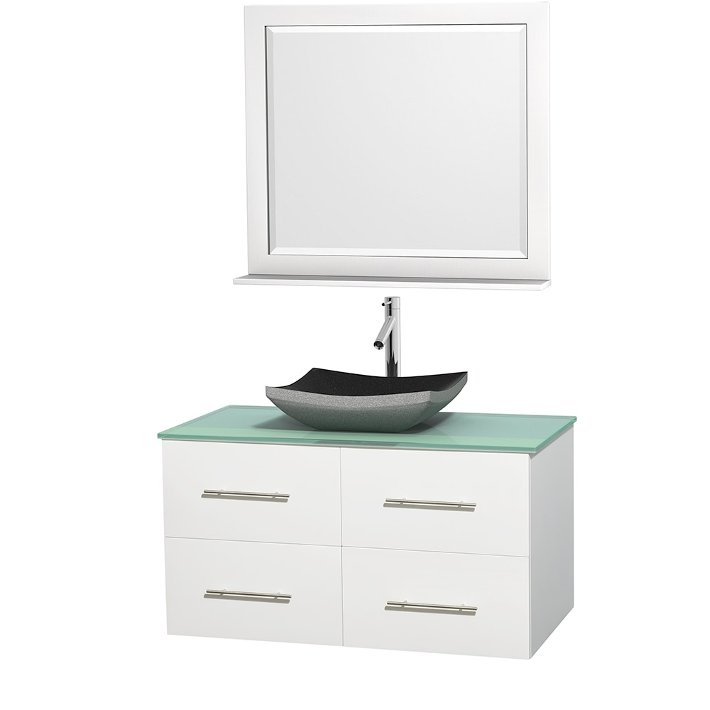 Wyndham Collection Centra 42 Vanity Single Bathroom Vanity Set With 36 Mirror Granite Sink