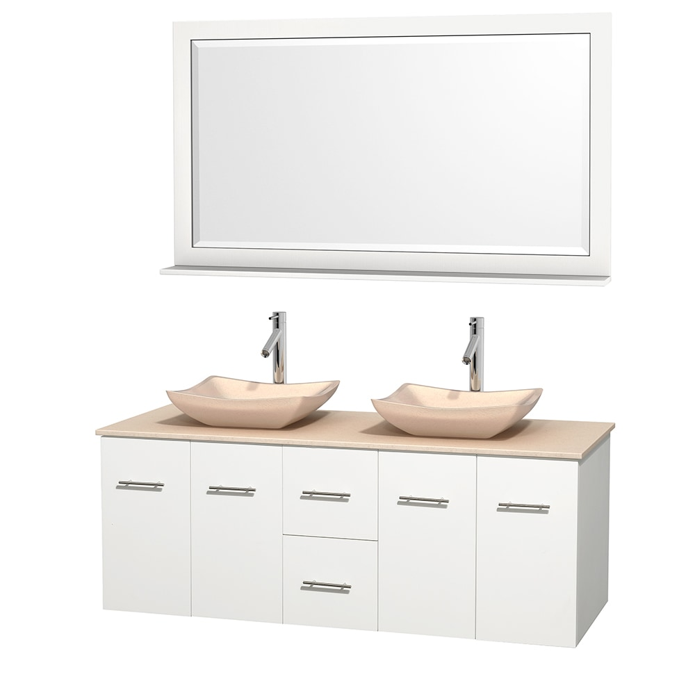 Wyndham Collection Centra 60 Vanity Double Bathroom Vanity Set With 58 Mirror Marble Sink