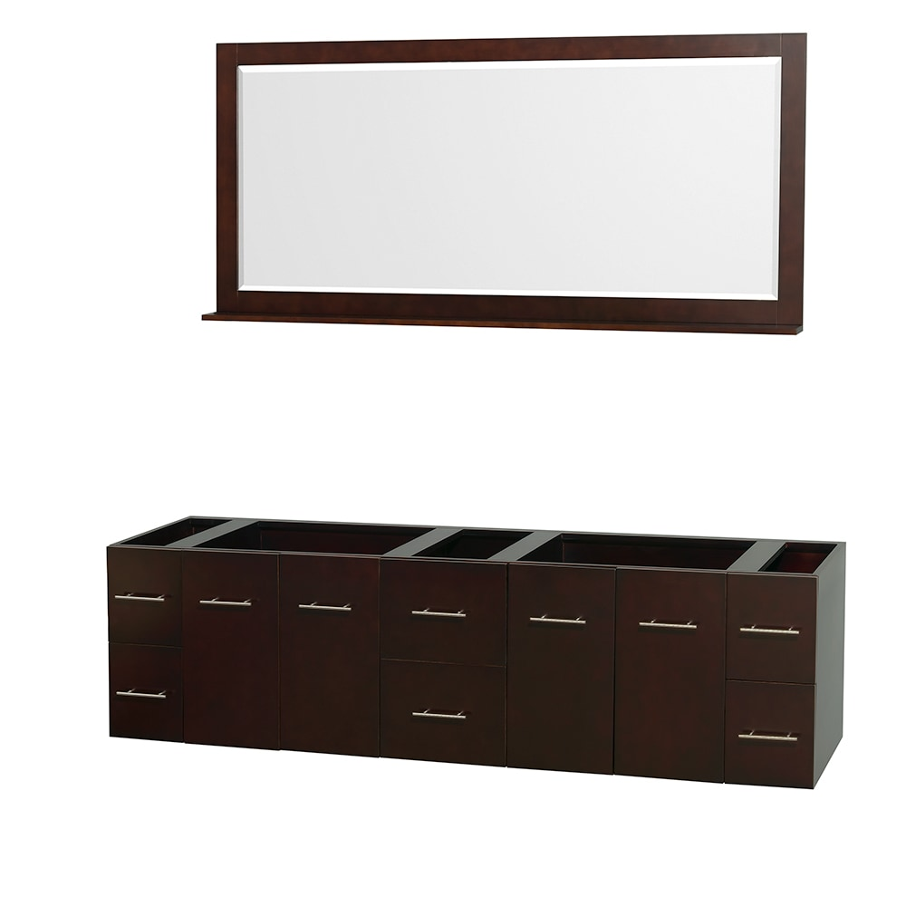 Wyndham Collection Centra 80 Inch Double Bathroom Vanity With 70 Inch Mirror Countertop And
