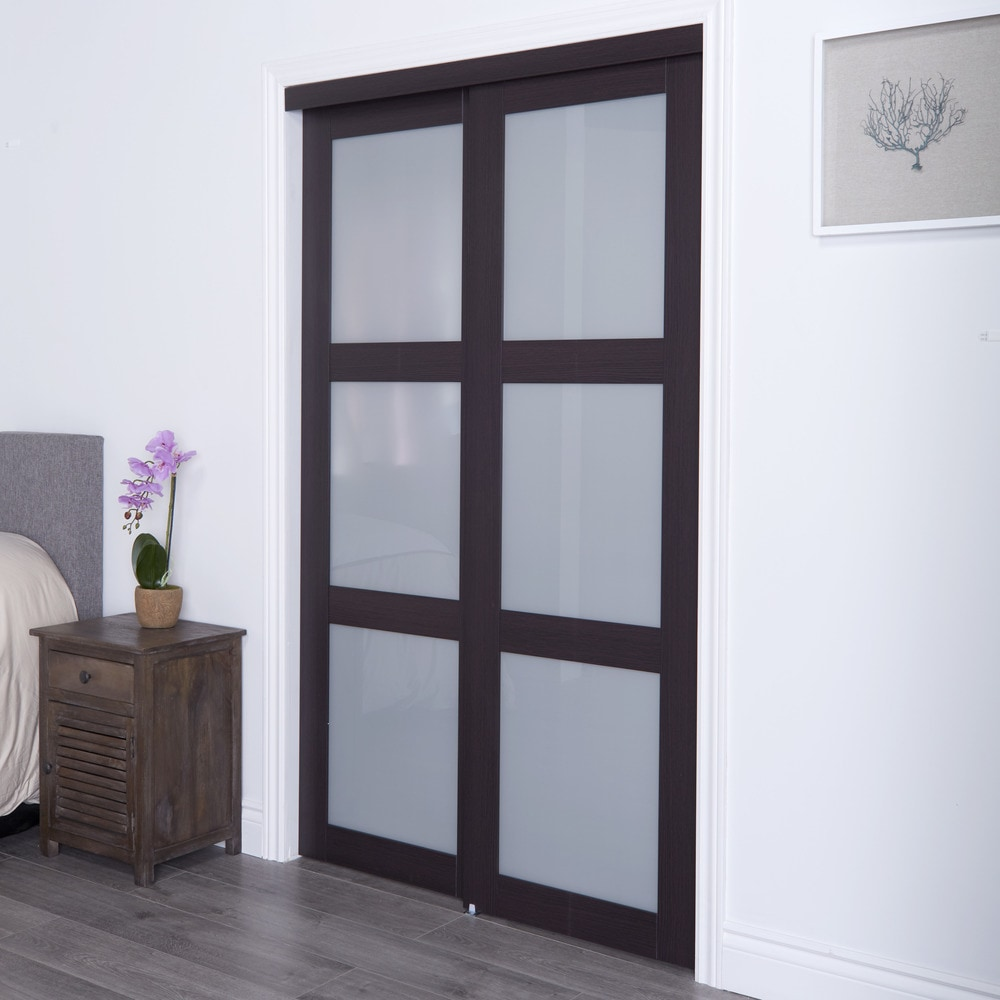 Erias Home Designs Euro Closet And Room Divider Door Espresso 3 Lite ...