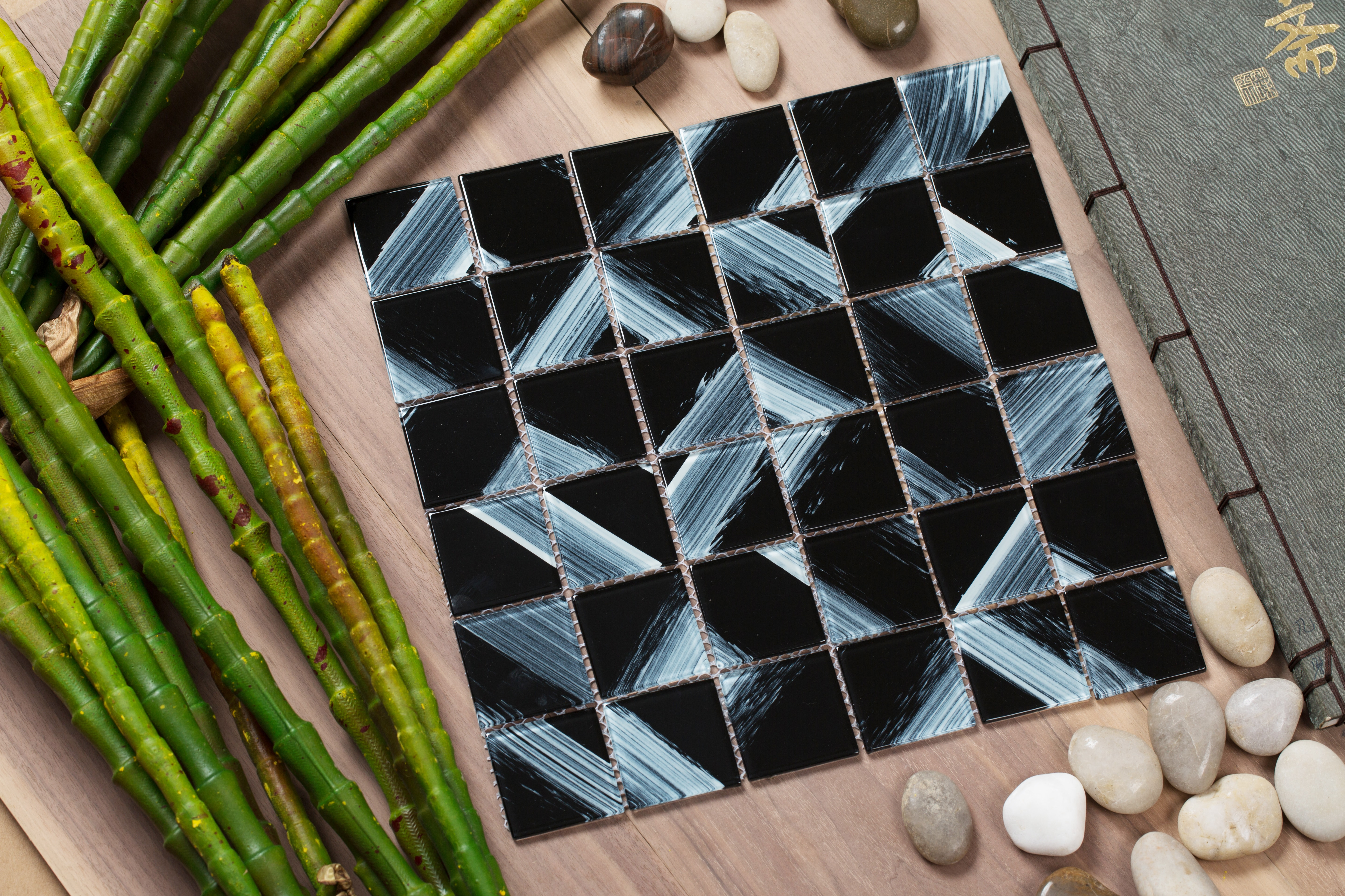 """Shiny black glass with brushed white overtones / 2""""x2"""" Stella Series 0"""