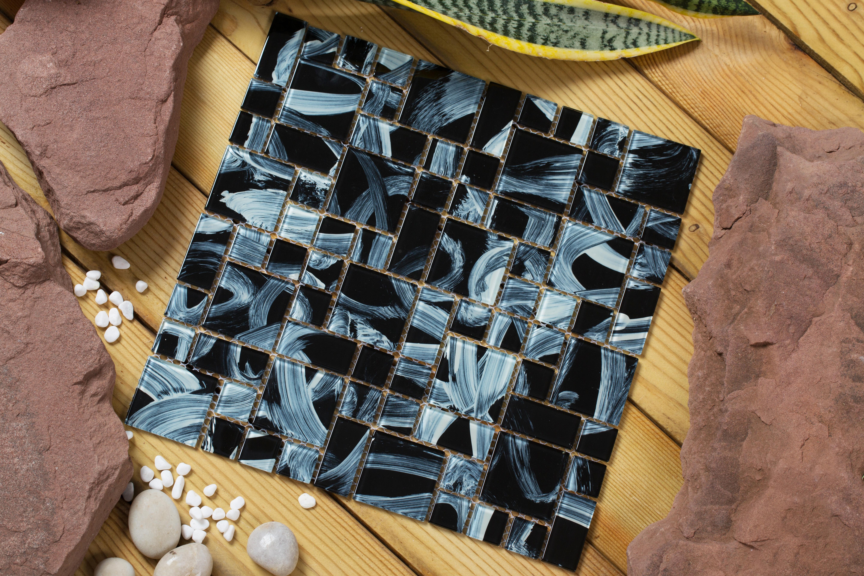 Shiny black glass with swirled white overtones / Random Stella Series 0