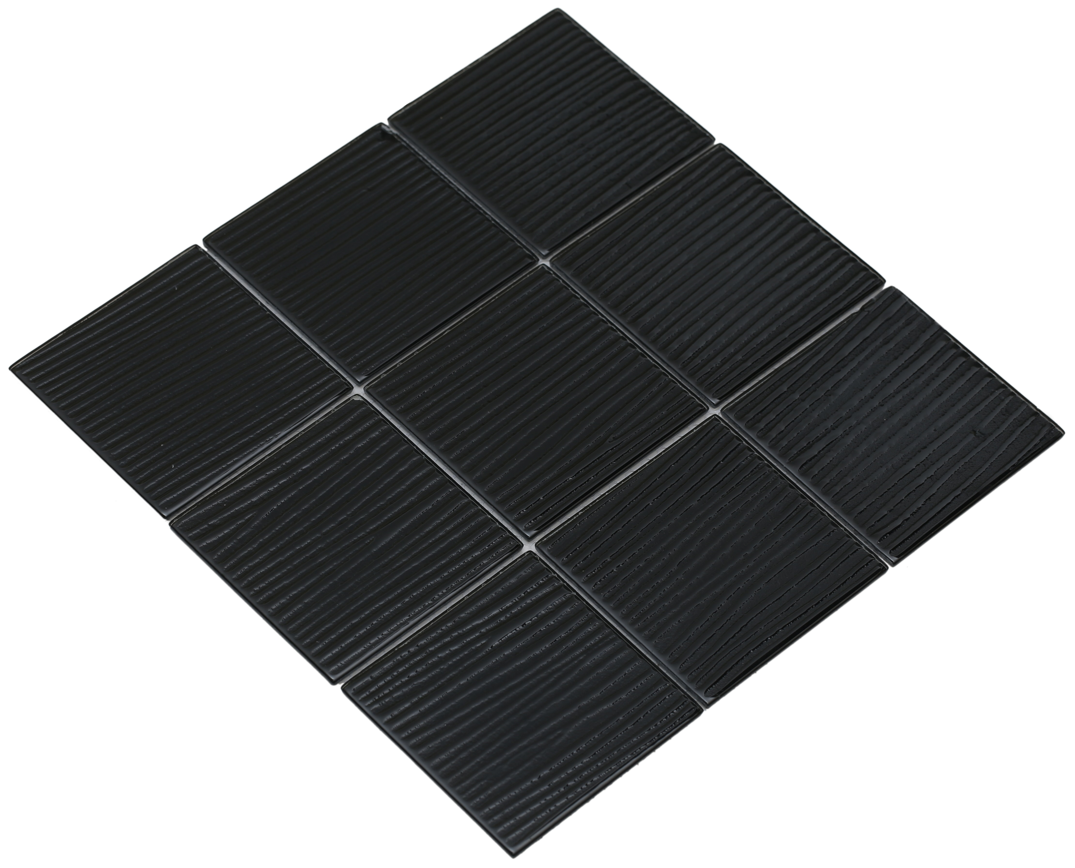 """Shiny black glass with a brushed texture / 4""""x4"""" Shilla Series 0"""